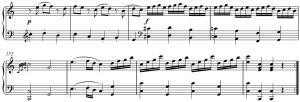 Coda from Mozart's Piano Sonata no. 7 in C Major, K. 309, I, mm. 148-155 by A1 is licensed under CC BY-SA 3.0.